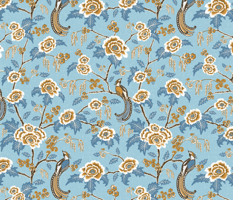 Indian Rose Atlantic - small fabric by bear_bell on Spoonflower - custom fabric