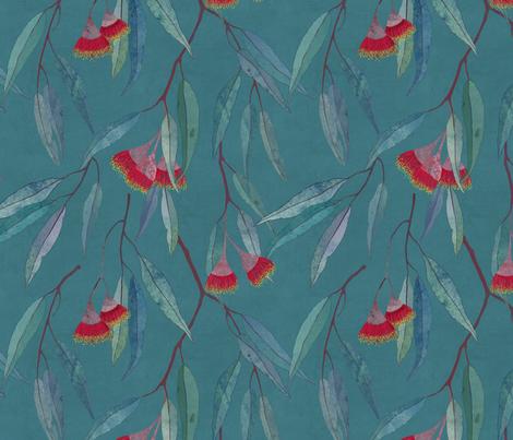 Eucalyptus leaves and flowers on teal fabric by lavish_season on Spoonflower - custom fabric
