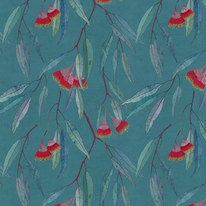 Eucalyptus leaves and flowers on teal