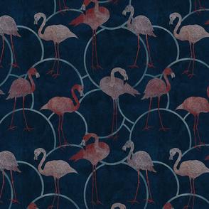 Walk with pink flamingos on indigo blue