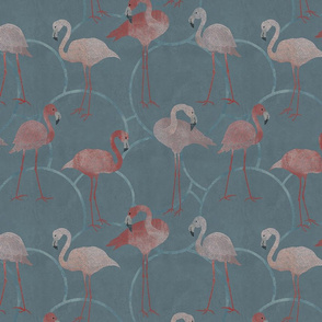 Walk with pink flamingos on grey
