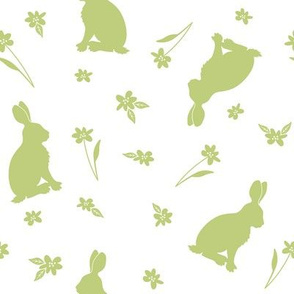 Rabbits and flowers_green
