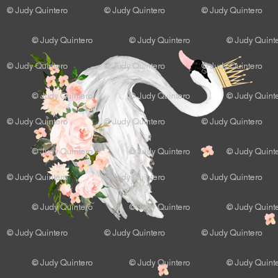 """4"""" Swan with Roses / Grey / 90 degrees"""
