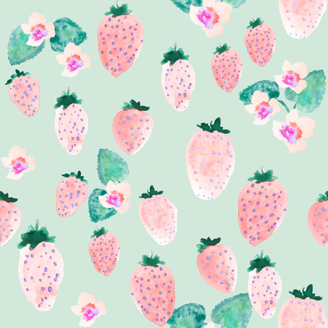INDY BLOOM strawberry blossom_Mint_B fabric by indybloomdesign on Spoonflower - custom fabric