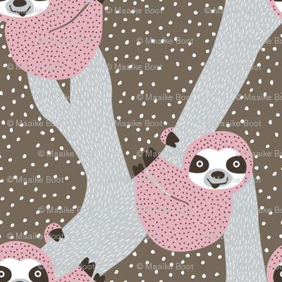 Sweet sloth tropical tree jungle animal print girls winter pink
