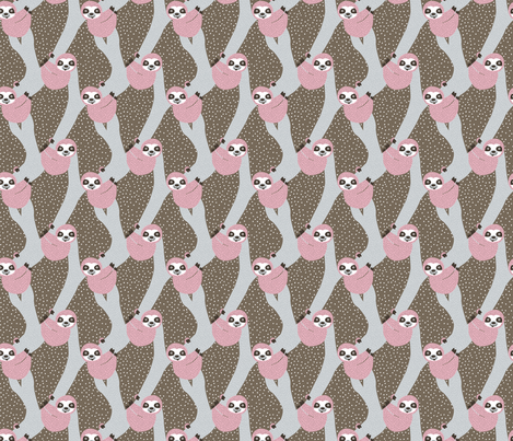 Sweet sloth tropical tree jungle animal print girls winter pink fabric by littlesmilemakers on Spoonflower - custom fabric