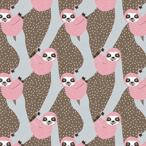 Sweet sloth tropical tree jungle animal print girls winter pink