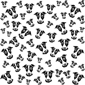 Jack Russell black white fabric