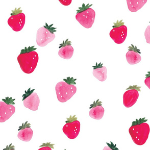 Watercolor strawberries - oversized