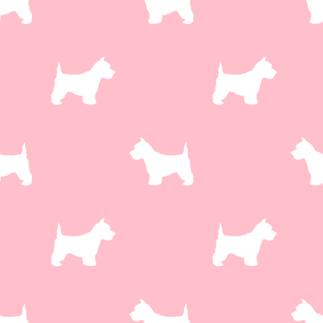 Westie west highland terrier dog silhouette blossom pink fabric by petfriendly on Spoonflower - custom fabric
