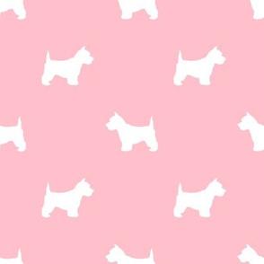 Westie west highland terrier dog silhouette blossom pink