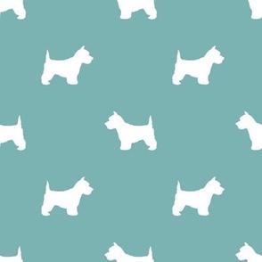 Westie west highland terrier dog silhouette gulf blue