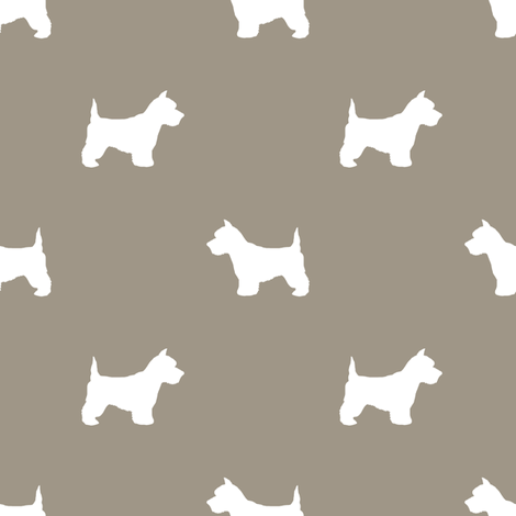 Westie west highland terrier dog silhouette med brown fabric by petfriendly on Spoonflower - custom fabric