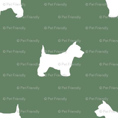Westie west highland terrier dog silhouette med green
