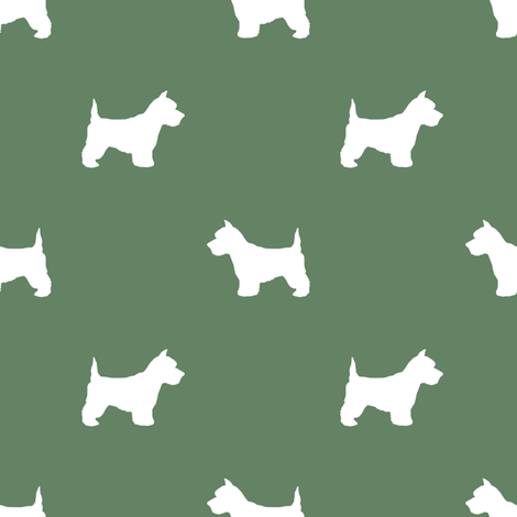 Westie west highland terrier dog silhouette med green fabric by petfriendly on Spoonflower - custom fabric