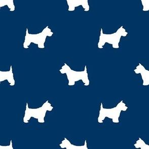 Westie west highland terrier dog silhouette navy