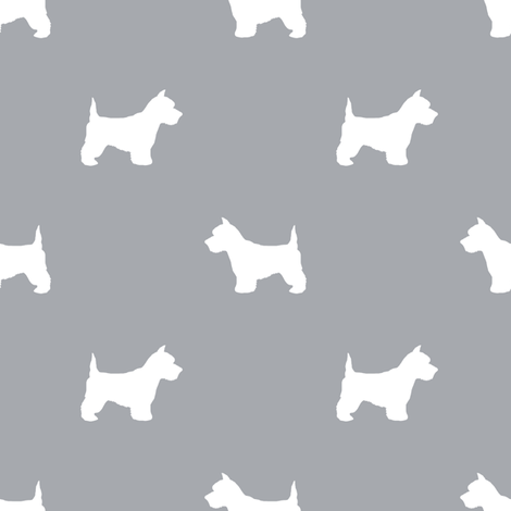 Westie west highland terrier dog silhouette quarry fabric by petfriendly on Spoonflower - custom fabric