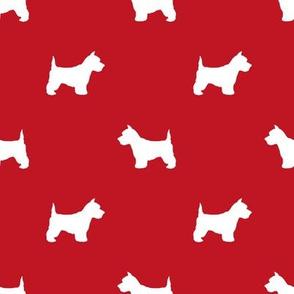 Westie west highland terrier dog silhouette red