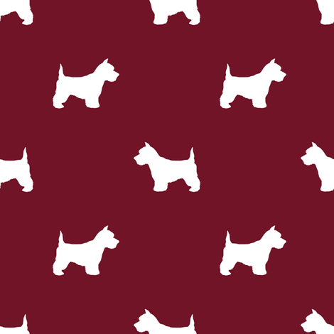 Westie west highland terrier dog silhouette ruby fabric by petfriendly on Spoonflower - custom fabric
