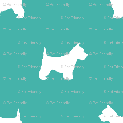 Westie west highland terrier dog silhouette turquoise