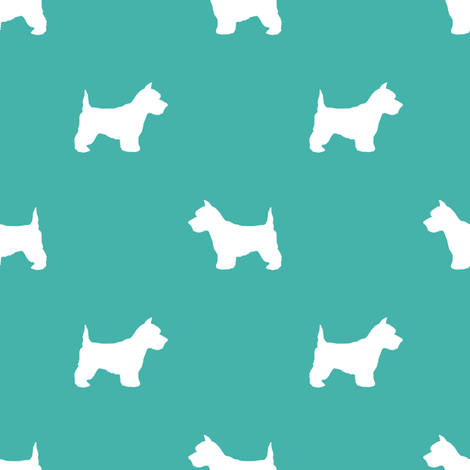 Westie west highland terrier dog silhouette turquoise fabric by petfriendly on Spoonflower - custom fabric
