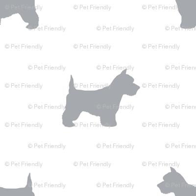 Westie west highland terrier dog silhouette white grey