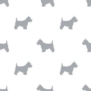 Westie west highland terrier dog silhouette white grey