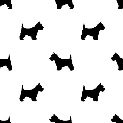 Westie west highland terrier dog silhouette white fabric by petfriendly on Spoonflower - custom fabric