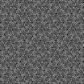 Doodle Spirals - White on Black