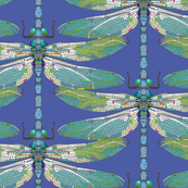 Dragonfly in Blue and Green Mosaic