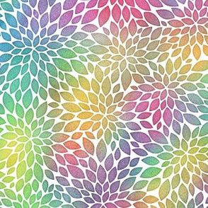 Bright Rainbow Watercolor Dahlia Pattern
