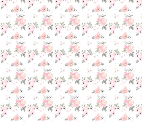 "8"" Sweet Blush Roses / 90 Degrees fabric by shopcabin on Spoonflower - custom fabric"