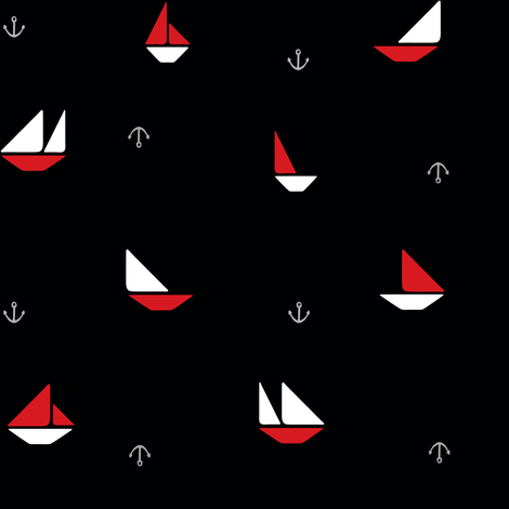 Ship Shapes Pirate Ditsy fabric by theeggplant on Spoonflower - custom fabric