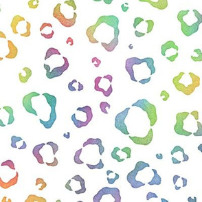 Bright Rainbow Watercolor Leopard Pattern 1