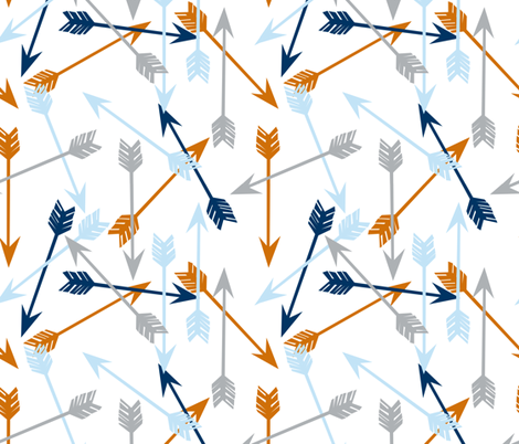 arrows fabric // custom navy baby blue, grey and orange fabric fabric by andrea_lauren on Spoonflower - custom fabric