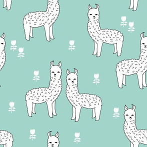 alpaca fabric // llama fabric design andrea lauren nursery mint fabric cute alpacas