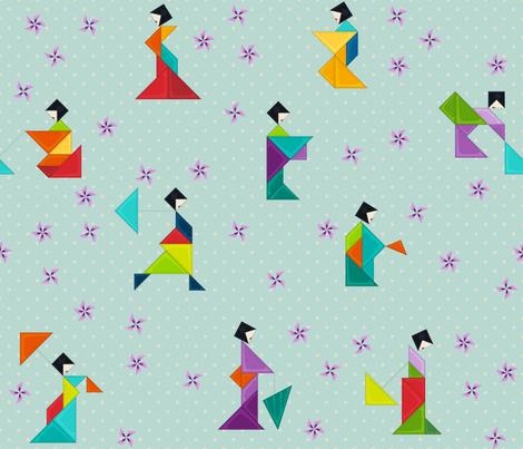 Tangram Geishas fabric by juliesfabrics on Spoonflower - custom fabric