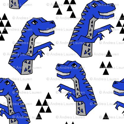 dinosaurs fabric // bright blue dino fabric andrea lauren design cute dinos