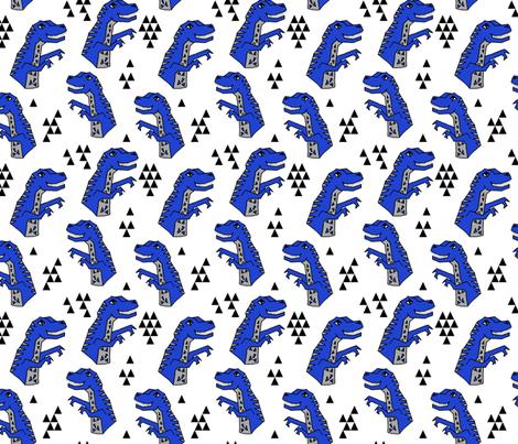 dinosaurs fabric // bright blue dino fabric andrea lauren design cute dinos fabric by andrea_lauren on Spoonflower - custom fabric