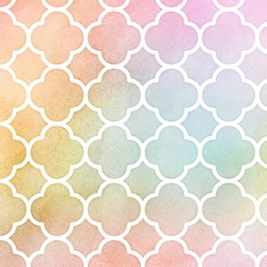 Pastel Rainbow Watercolor Quatrefoil Pattern