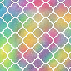 Bright Rainbow Watercolor Quatrefoil Pattern