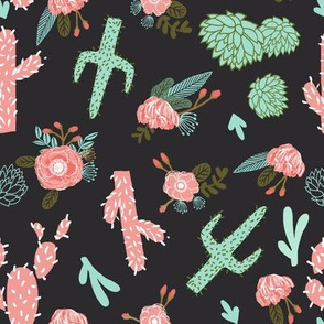 cactus floral fabric southwest flower cactus design