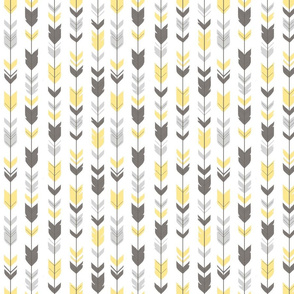 Arrow Feathers - yellow and grey on white - gender neutral woodland nursery