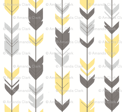 Arrow Feathers - Baby yellow and grey on white