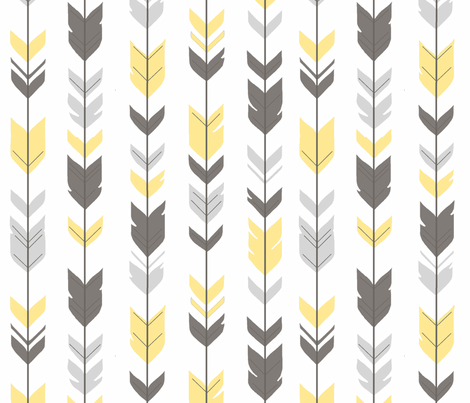 Arrow Feathers - Baby yellow and grey on white fabric by sugarpinedesign on Spoonflower - custom fabric
