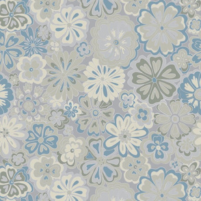 Wildflowers in neutral gray and blue