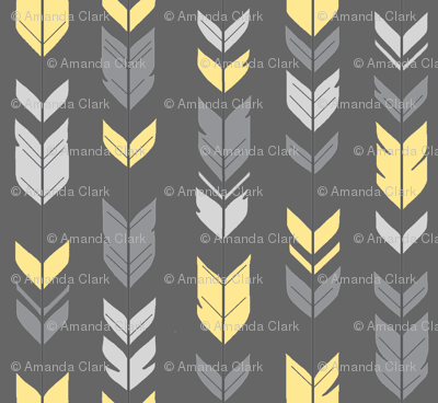Arrow Feathers -Baby yellow and grey