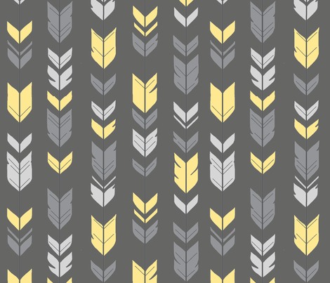 Arrow Feathers -Baby yellow and grey fabric by sugarpinedesign on Spoonflower - custom fabric