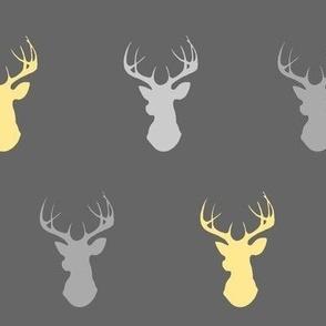 Deer- yellow and grey on dark gray - buck head-ch