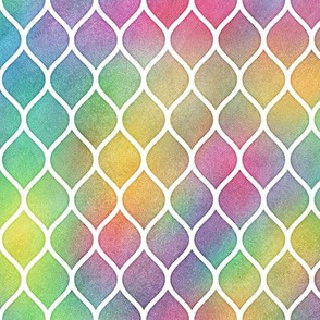 Bright Rainbow Watercolor Ogee Pattern 1